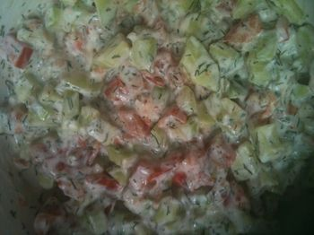 Salade tomate conconbre yaourth